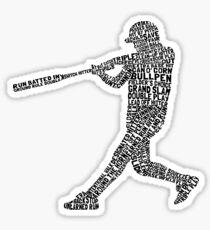 Softball Baseball Player Calligram Sticker