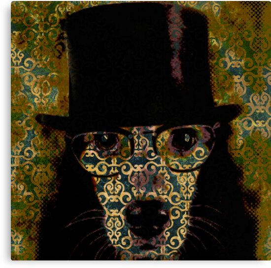 Cool,Dog damask,dog with top hat,fun,modern,trendy,contemporary digital art by love999