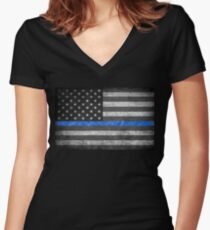 Thin Blue Line  Women's Fitted V-Neck T-Shirt