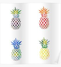 Colorful Pineapple Set Poster