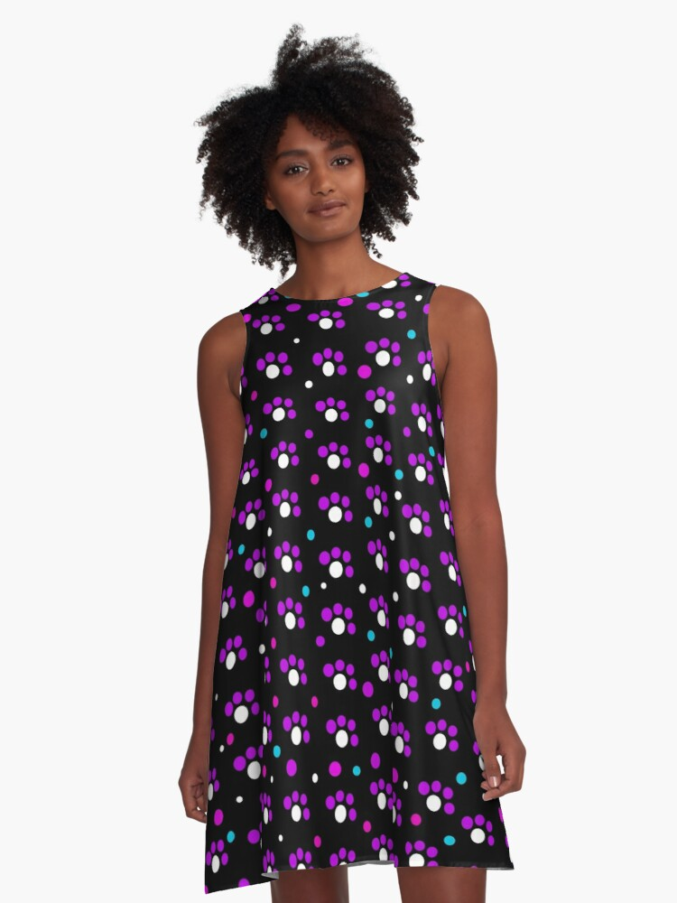 Purple dots pattern A-Line Dress Front