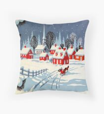 Vintage, Winter, Christmas, Holiday Throw Pillow