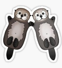 Otters Holding Hands - Sea Otter Couple Sticker