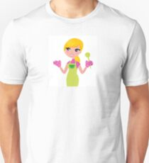 Cute blond woman cooking healthy food T-Shirt