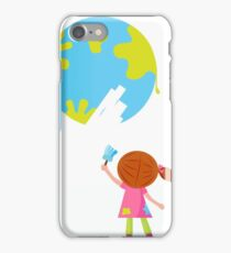Little artist - child painting Earth ( planet, globe ) iPhone Case/Skin
