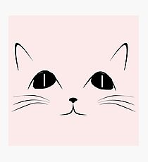 Black Cat Face Cute Animal Cartoon Photographic Print