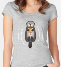 Sea Otter with Pizza Women's Fitted Scoop T-Shirt