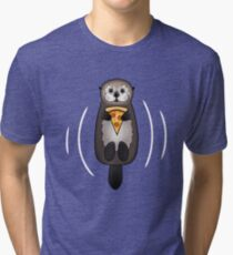 Sea Otter with Pizza Tri-blend T-Shirt