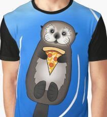 Sea Otter with Pizza Graphic T-Shirt