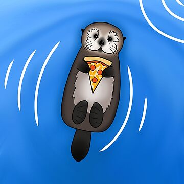 Sea Otter with Pizza by prettyinink