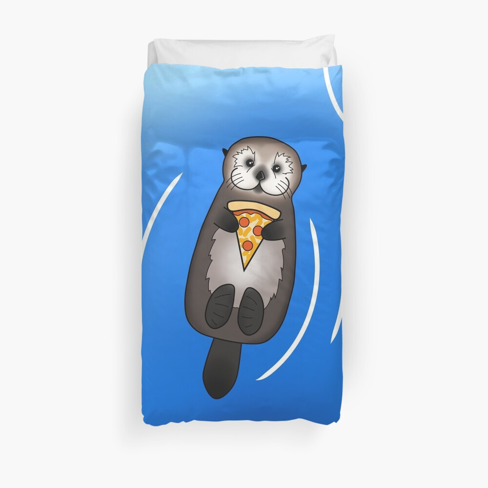 Sea Otter with Pizza Duvet Cover