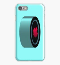 Hockey puck with red maple leaf iPhone Case/Skin
