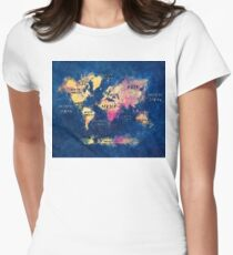 world map oceans and continents Womens Fitted T-Shirt