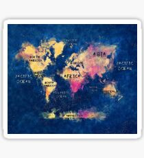 world map oceans and continents Sticker