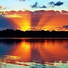 Orange Rays Sunrise Panorama. Original exclusive photo art. by sunnypicsoz