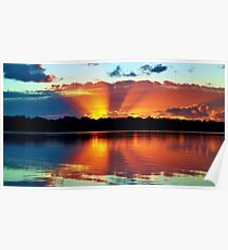 Orange Rays Sunrise Panorama. Original exclusive photo art. Poster