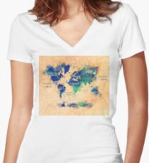 world map oceans and continents 2 Women's Fitted V-Neck T-Shirt
