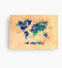 world map oceans and continents 2 Canvas Print