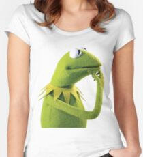 Kermit Contemplating, an aesthetic Women's Fitted Scoop T-Shirt
