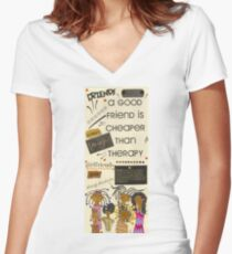 Good Friends Women's Fitted V-Neck T-Shirt