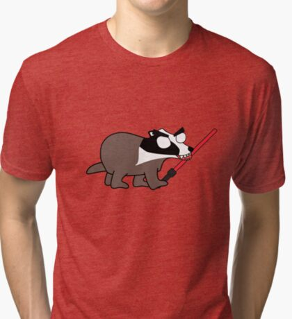 herbert, the angry zombie badger on the dark side Tri-blend T-Shirt