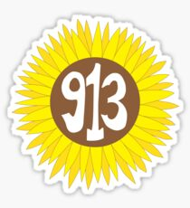 Hand Drawn Kansas Sunflower 913 Area Code Sticker