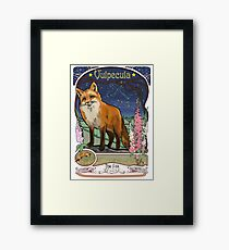Fox and Foxgloves Constellation Vulpecula Art Nouveau Style Framed Print