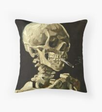 Vincent Van Gogh - Head Of A Skeleton With A Burning Cigarette, January 1886 - February 1886  Throw Pillow
