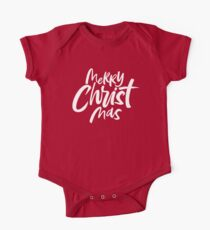 Modern Christian Christmas Lettering - Bold Merry Christ Mas - Religious - Green Kids Clothes