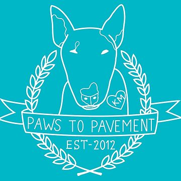 Paws To Pavement Dog Walking San Diego Bull Terrier White & Turquoise by Ejmckinney19