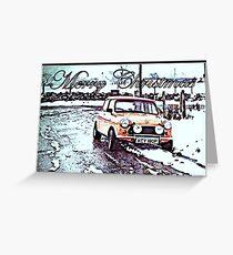 Xmas Mini Cooper Greeting Card