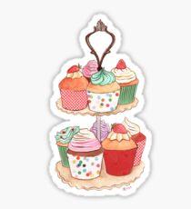 High Tea Cupcakes on Blue Sticker