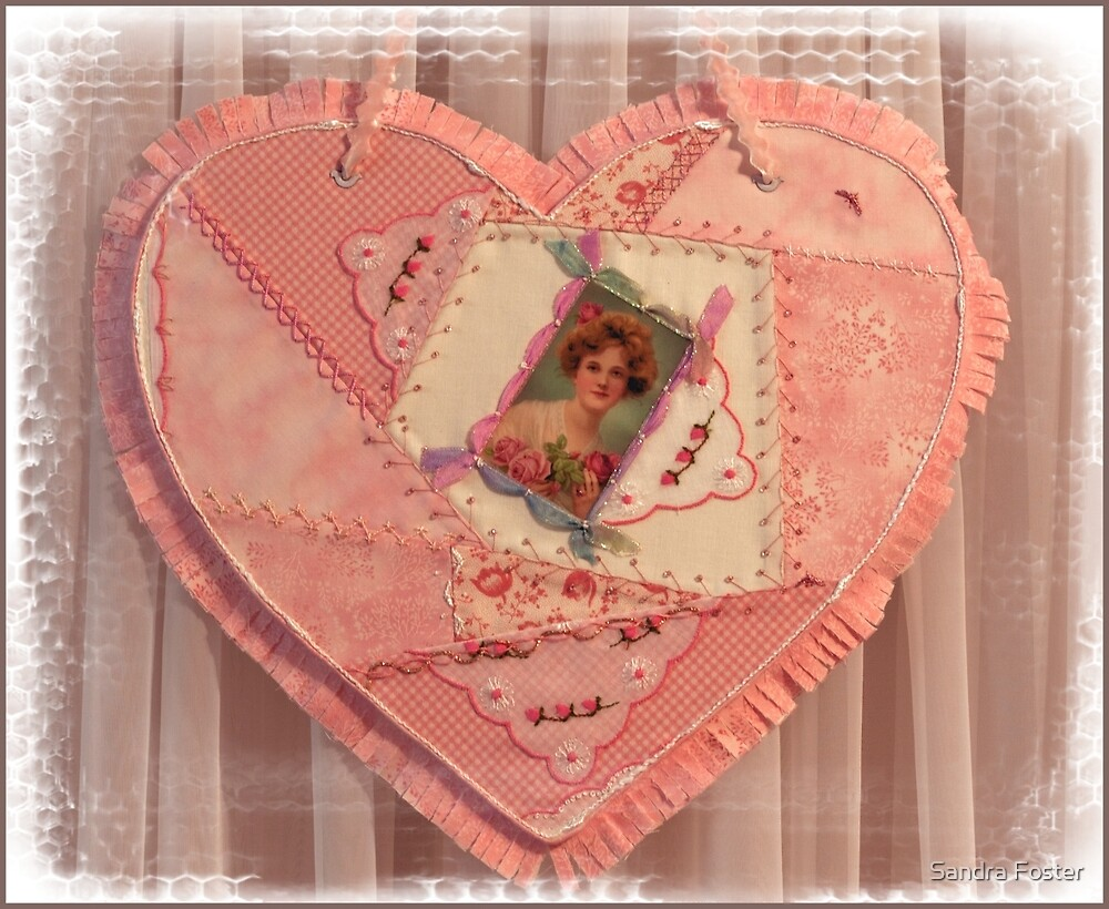 Crazy Quilt Heart Embroidered Wall Hanging  by Sandra Foster