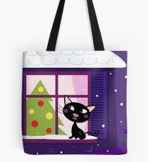 Cat looking through window, christmas tree Tote Bag