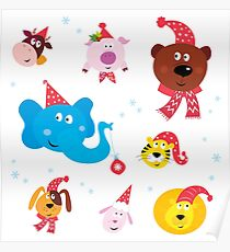 Cute animal icons with red Santa hats isolated on white Poster