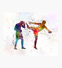 Two men exercising thai boxing silhouette 01 Photographic Print