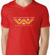 Weyland Yutani - Distressed Yellow/White Variant Mens V-Neck T-Shirt