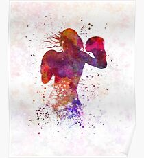 woman boxer boxing kickboxing silhouette isolated 02 Poster