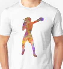 Woman boxer boxing kickboxing silhouette isolated 03 T-Shirt