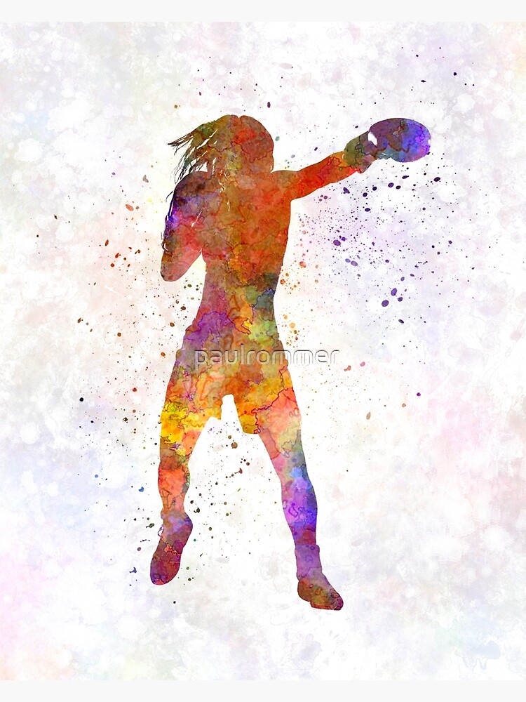 Woman boxer boxing kickboxing silhouette isolated 03 by paulrommer