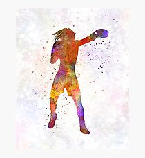 Woman boxer boxing kickboxing silhouette isolated 03 Photographic Print