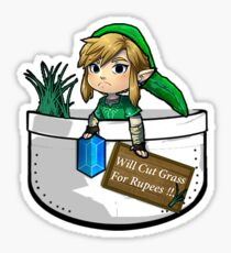"Zelda ""Will Cut Grass For Rupees"" Sticker"
