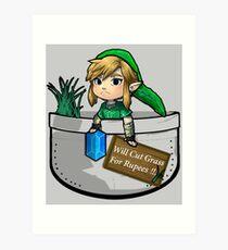 """Zelda """"Will Cut Grass For Rupees"""" Art Print"""
