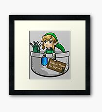 "Zelda ""Will Cut Grass For Rupees"" Framed Print"