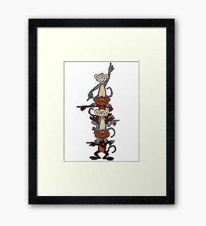 Totem Pole Monkeys Framed Print