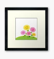 Happy Spring Flower Garden. Vector Illustration. Framed Print