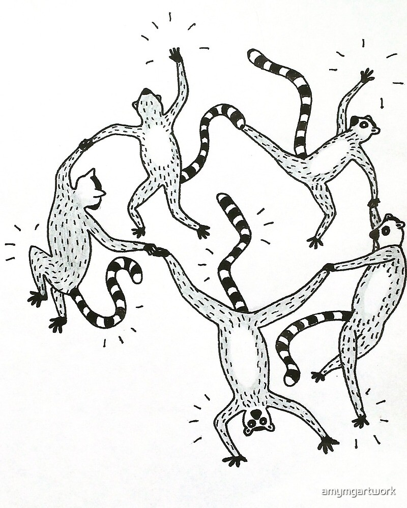 Dancing Lemurs by amymgartwork