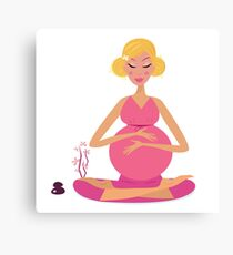 Pregnant woman doing yoga : isolated on white background Canvas Print