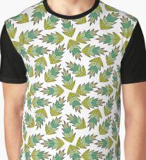 motif feuilles d'automne tons de vert T-shirt graphique