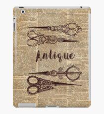 Antique Scissors Old Book Page Design iPad Case/Skin